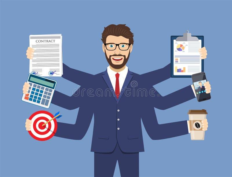 Lycklig affärsman med många händer stock illustrationer