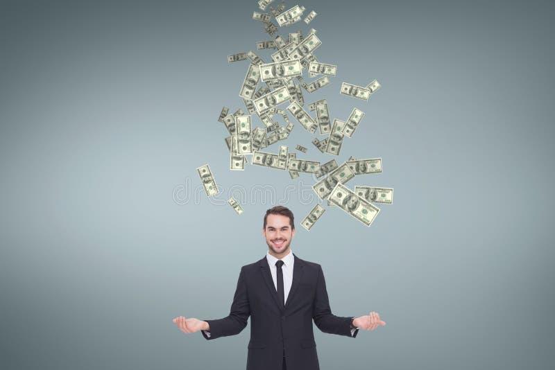 Lycklig affärsman med pengarregn mot blå bakgrund royaltyfri bild
