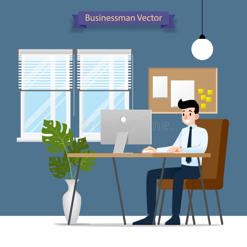 Lycklig affärsman som arbetar på en persondator som sitter på en brun läderstol bak kontorsskrivbordet Vektorlägenhetstil Illus royaltyfri illustrationer