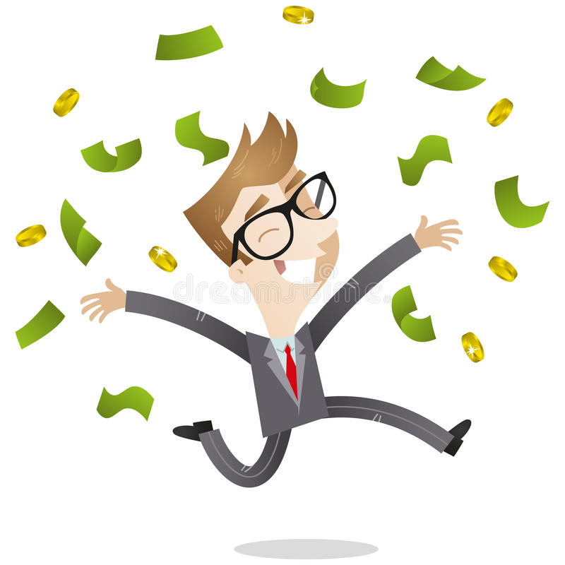 Lycklig affärsman som kastar upp sedlar stock illustrationer