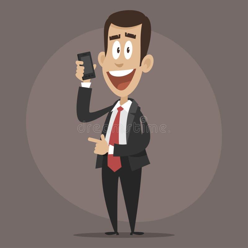 Lycklig affärsman som talar på telefonen royaltyfri illustrationer