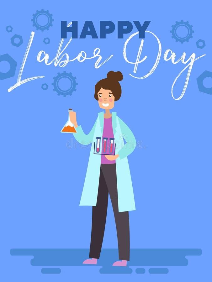 Lycklig affisch för arbets- dag eller hälsningkortdesign med ett kvinnligt forskareChemist anseende med provrör under text över vektor illustrationer