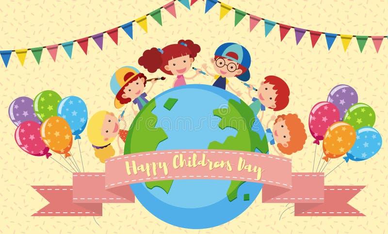 Lycklig affisch för dag för barn` s med ungar och ballonger vektor illustrationer