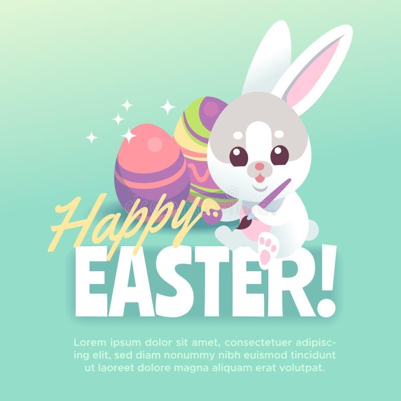Lycklig affisch för easter kanin Gullig vit kanin med kaniner för tecknad film för easter ägg som hälsar berömvektorkortet vektor illustrationer