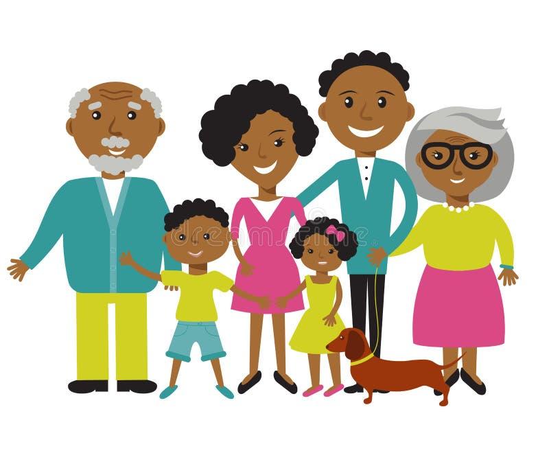 Lycklig afrikansk amerikanfamilj av fyra medlemmar: föräldrar, deras son och dotter Älskvärda tecknad filmtecken på solig sommar