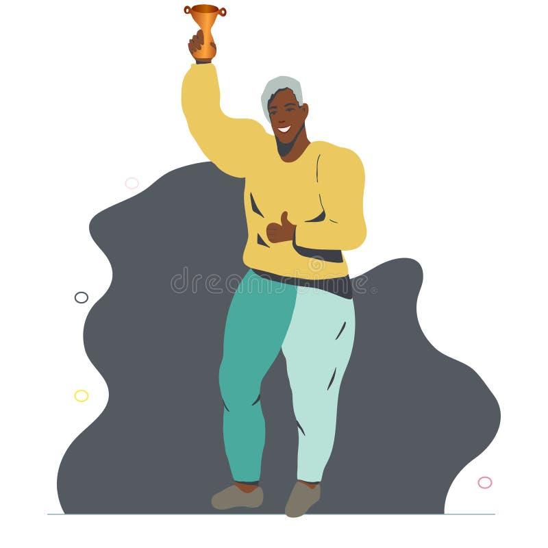 Lycklig afrikansk amerikanman som ler fira seger stock illustrationer