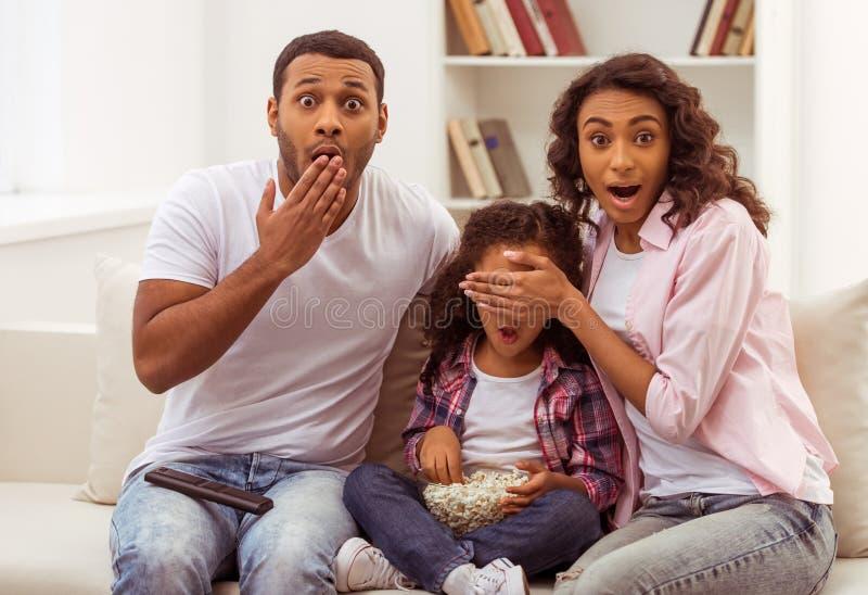 Lycklig Afro--amerikan familj royaltyfria bilder