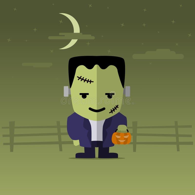 Lycklig allhelgonaafton med den roliga tecknade filmen Frankenstein stock illustrationer