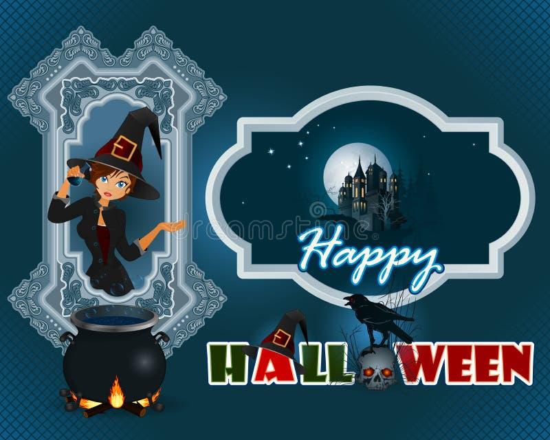 Lycklig allhelgonaaftondesignbakgrund med tecknade filmen, häxaflickan och den spökade slotten vektor illustrationer