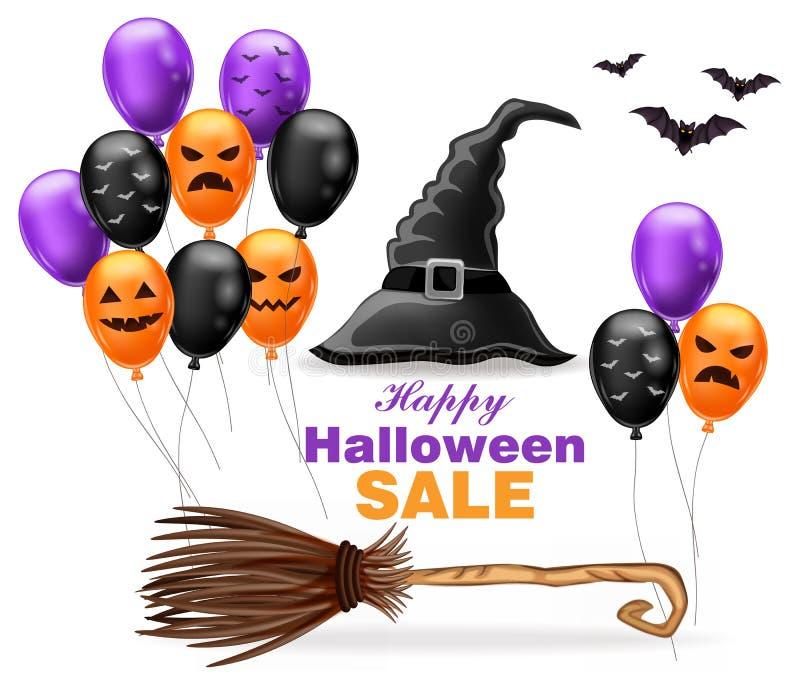 Lycklig allhelgonaaftonförsäljning med häxahatten och färgrika ballongvektorillustrationer stock illustrationer