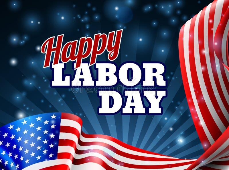 Lycklig amerikanska flaggandesign för arbets- dag vektor illustrationer