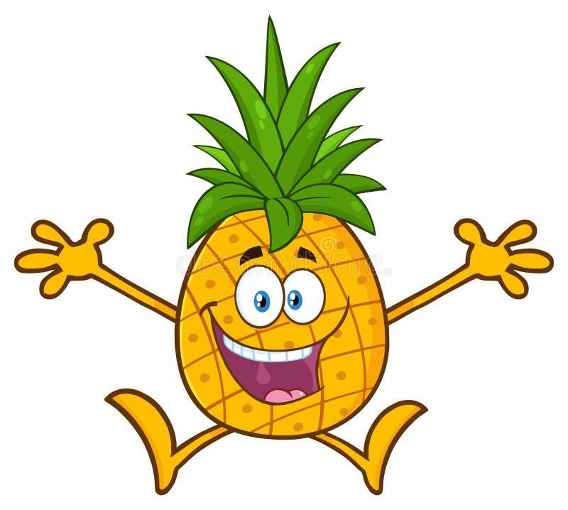 Lycklig ananasfrukt med teckenet för maskot för gräsplanbladtecknad film med öppet hoppa för armar royaltyfri illustrationer