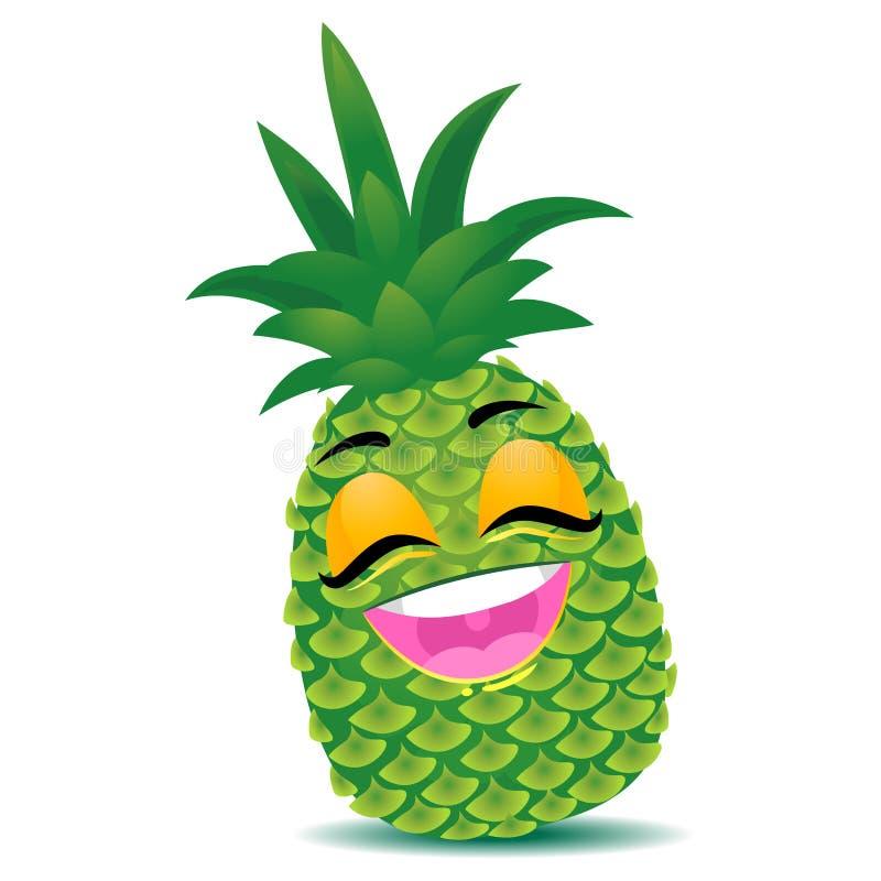 Lycklig ananasmaskot stock illustrationer