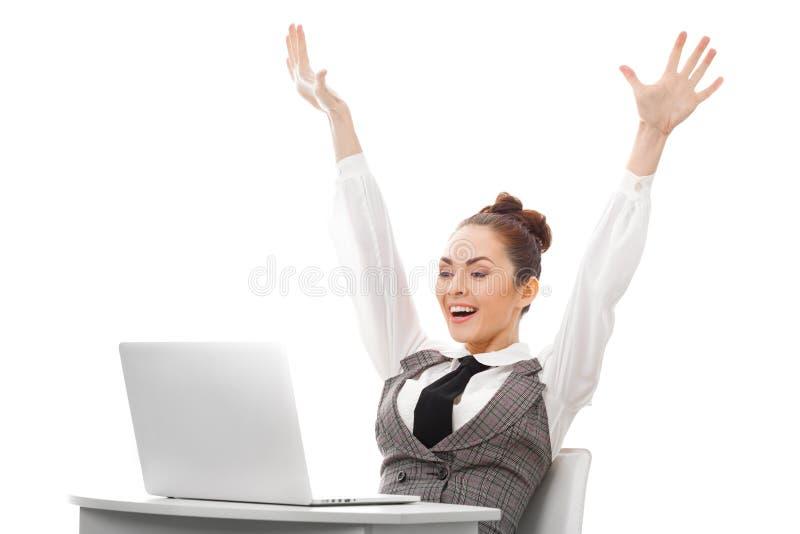 lycklig användare för dator arkivfoto