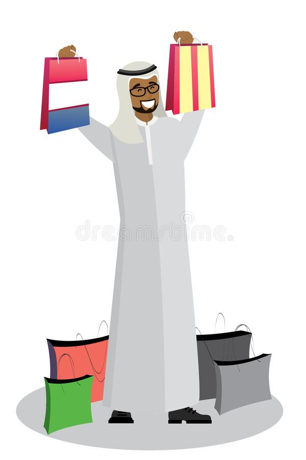 Lycklig arabisk man med shoppingpåsar vektor illustrationer
