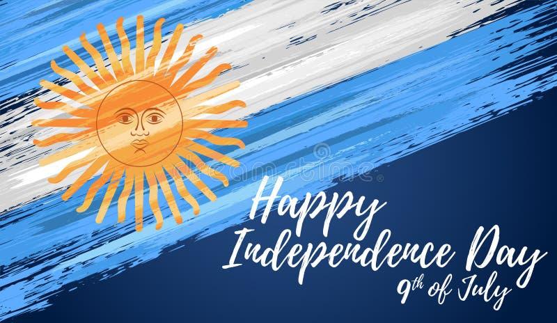 Lycklig Argentina självständighetsdagen 9th Juli royaltyfri illustrationer