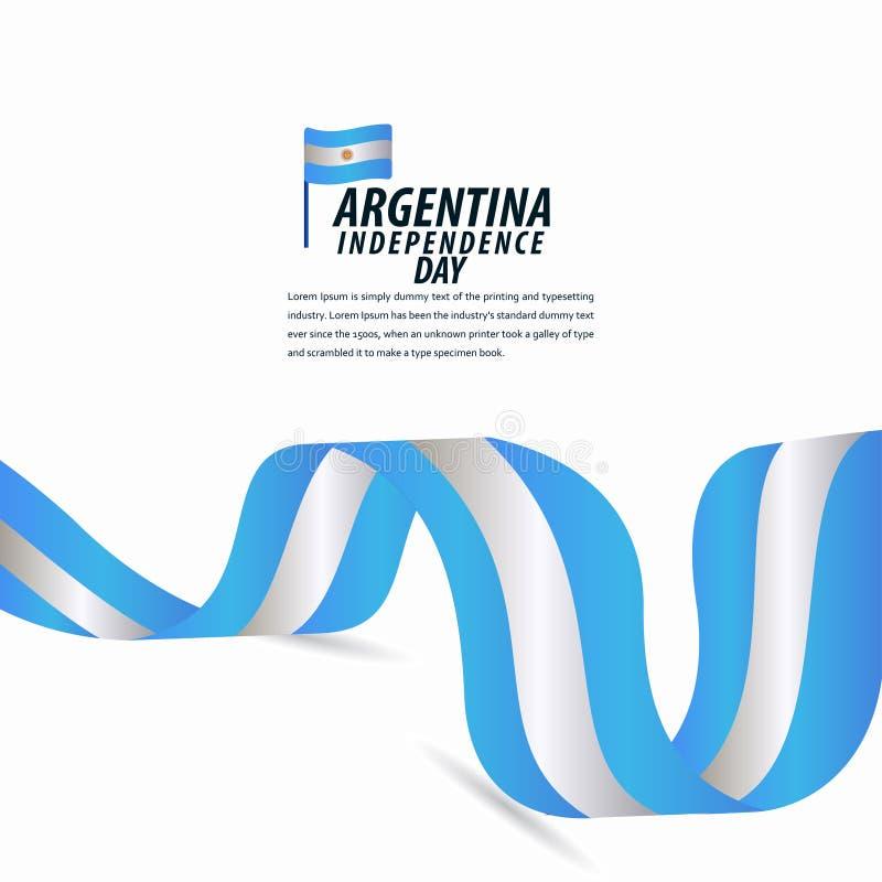 Lycklig Argentina självständighetsdagenberöm, affisch, illustration för design för mall för bandbanervektor vektor illustrationer