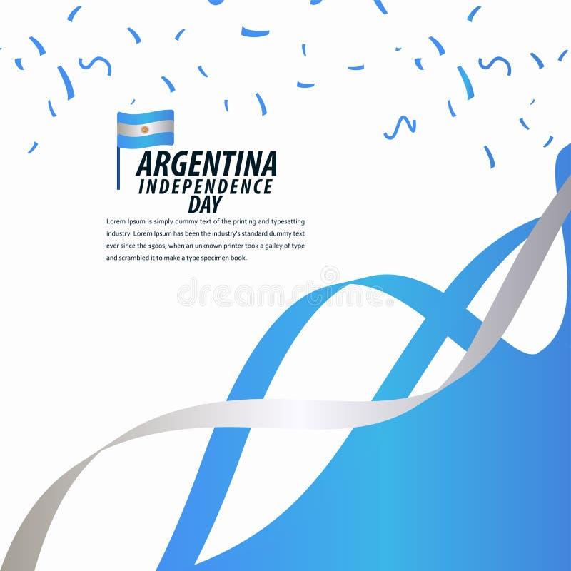 Lycklig Argentina självständighetsdagenberöm, affisch, illustration för design för mall för bandbanervektor royaltyfri illustrationer