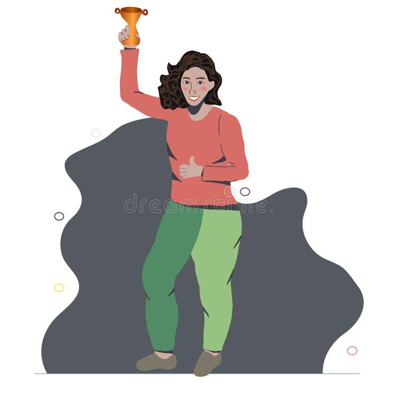 Lycklig asiatisk flicka som ler fira seger stock illustrationer