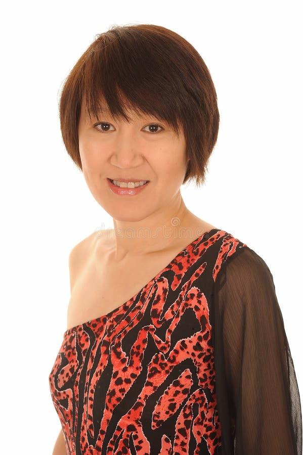 Lycklig asiatisk kvinna arkivbild