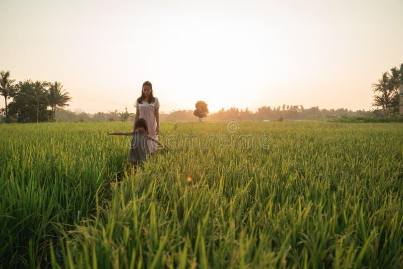 Lycklig asiatisk moder och unge som går i risfält royaltyfri fotografi
