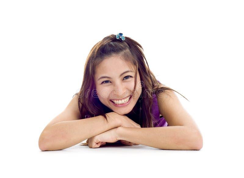 lycklig asiatisk skönhet mycket arkivfoto