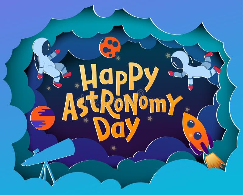 Lycklig astronomidag Hälsningkort med att märka lyckliga Astronom royaltyfri illustrationer