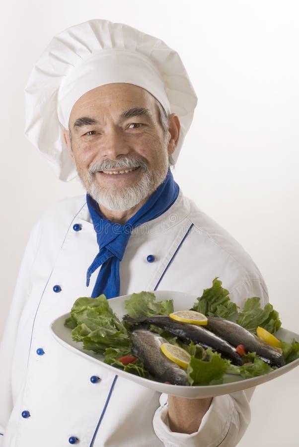 lycklig attraktiv kock arkivfoto