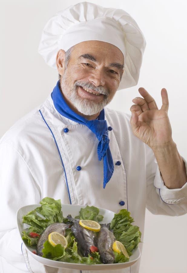 lycklig attraktiv kock arkivbilder