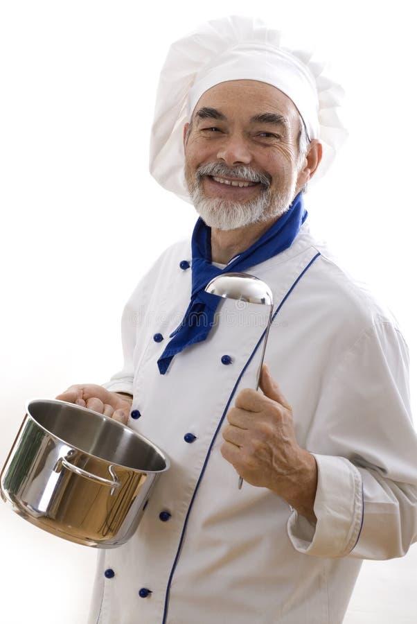 lycklig attraktiv kock arkivfoton