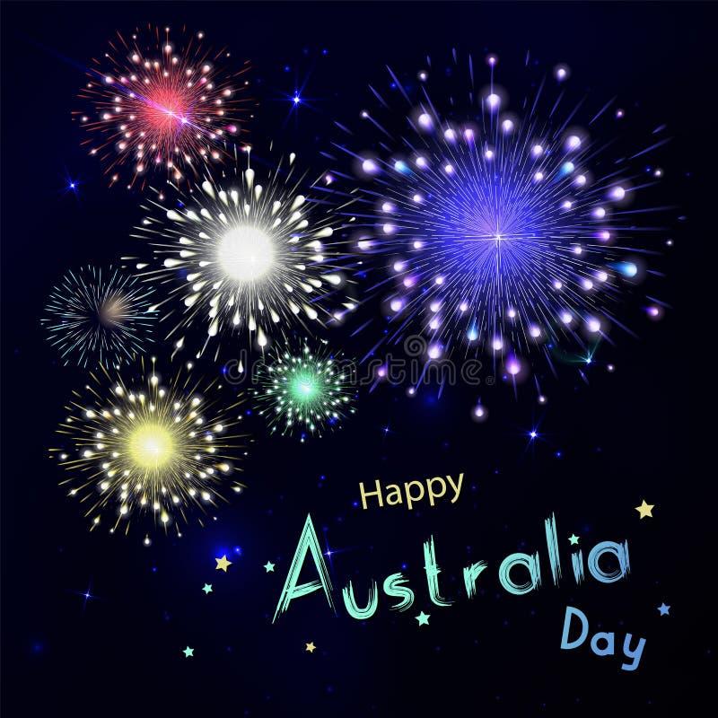Lycklig Australien dag med fyrverkerier på svart bakgrund Lyckligt ho stock illustrationer