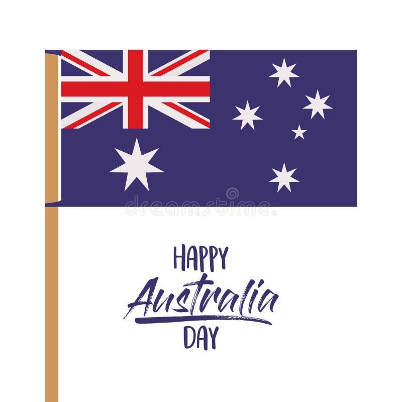Lycklig Australien dagaffisch med den australiska flaggan i pol över vit bakgrund royaltyfri illustrationer