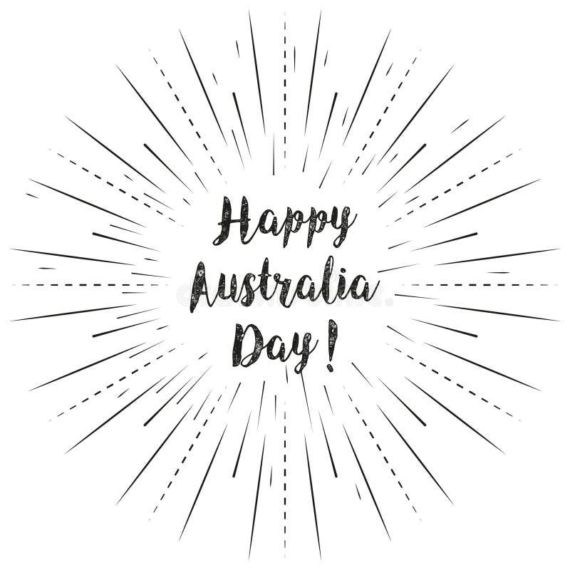 Lycklig Australien dagtext med solen rays linjär bakgrund Vektorkortdesign med beställnings- kalligrafi stock illustrationer