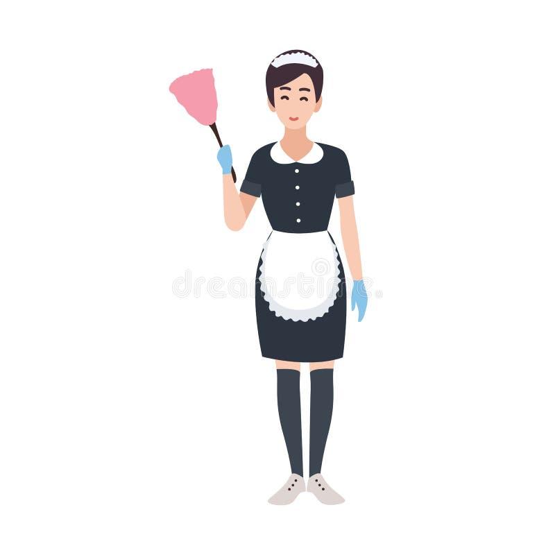 Lycklig bärande likformig för husa-, hembiträde-, hushållning- eller för huslokalvårdservice arbetare Nätt kvinnligt tecknad film royaltyfri illustrationer