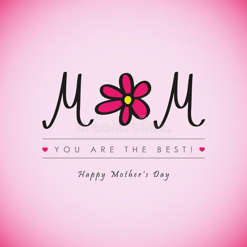 Lycklig bästa mamma för moderdag som hälsar någonsin kortet med den rosa blomman stock illustrationer