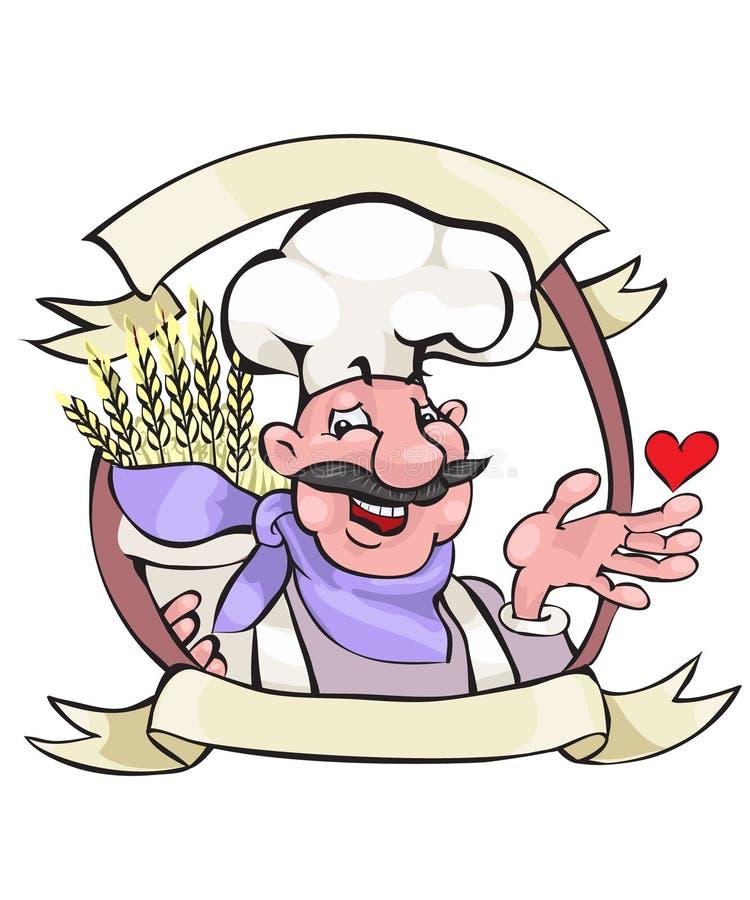 lycklig bagare stock illustrationer