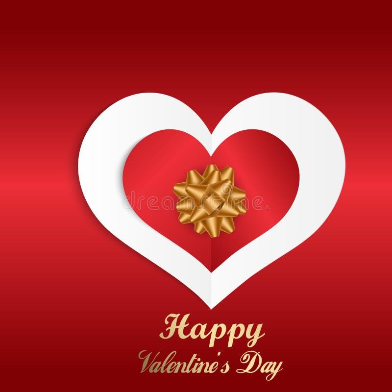 Lycklig bakgrund för abstrakt begrepp för dag för valentin` s med hjärta och pilbågen för snittpapper röd valentin för kortdaghäl stock illustrationer