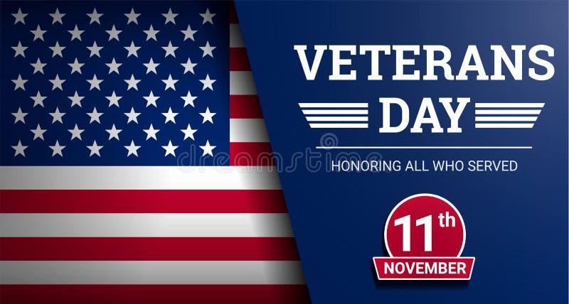 Lycklig bakgrund för begrepp för veterandag, realistisk stil stock illustrationer