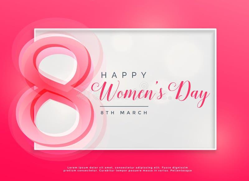 Lycklig bakgrund för beröm för marsch för dag för kvinna` s 8th royaltyfri illustrationer