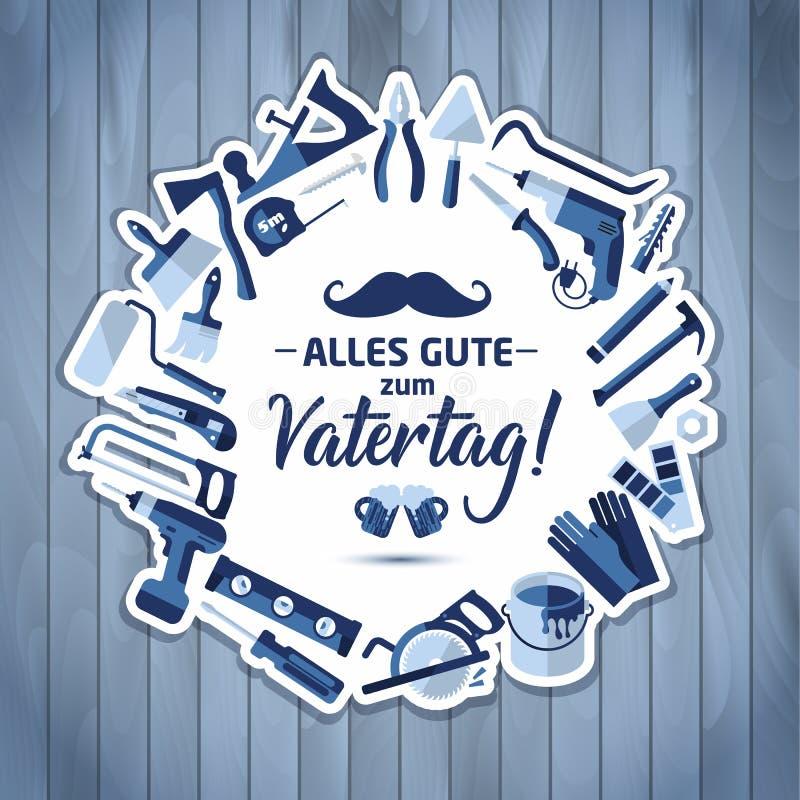 Lycklig bakgrund för bokstäver för vektor för faderdag Lyckligt baner för faderdag på trätextur i Tysklandberöm royaltyfri illustrationer