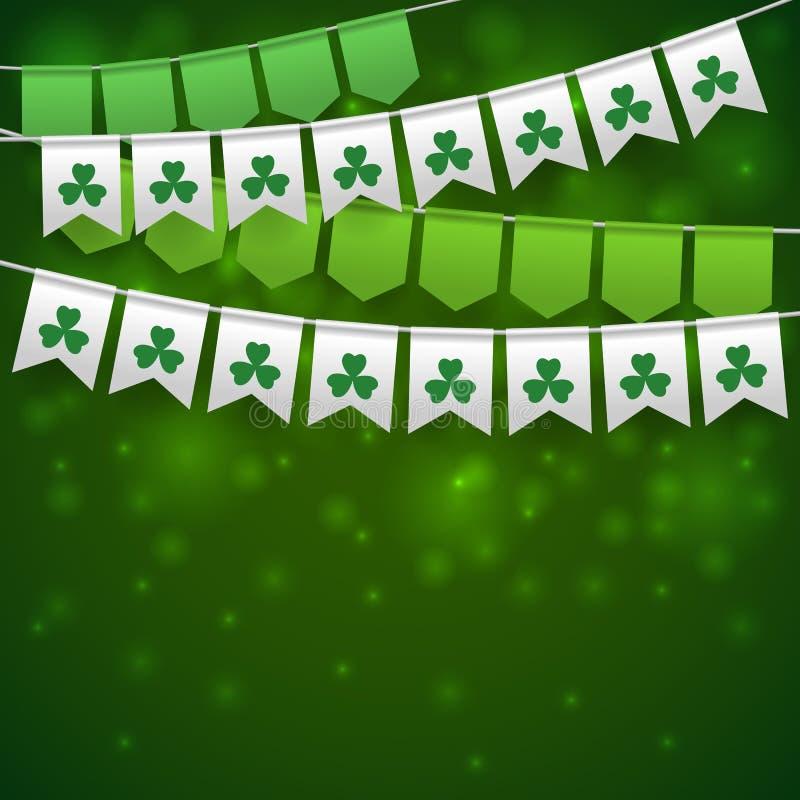 Lycklig bakgrund för dag för St Patrick ` s med girlander vektor illustrationer