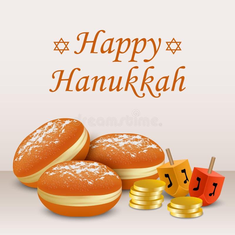 Lycklig bakgrund för hanukkah feriebegrepp, realistisk stil royaltyfri illustrationer