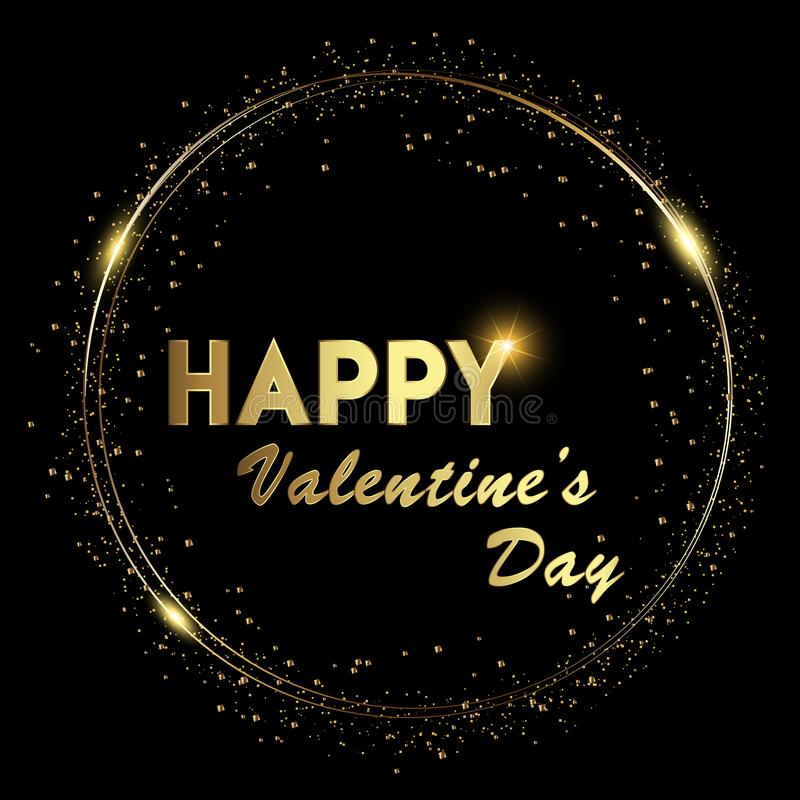Lycklig bakgrund för valentin` s med glänsande guld och att glöda tänder text på svart bakgrund vektor royaltyfri illustrationer