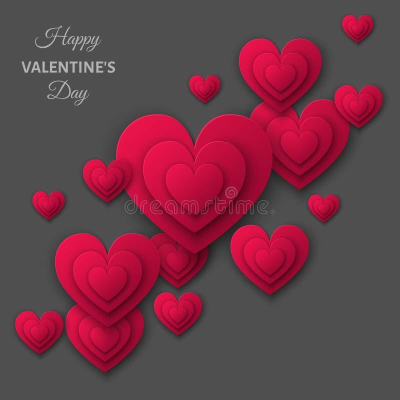 Lycklig bakgrund för valentindaggrå färger med hjärta för rosa färgsnittpapper vektor illustrationer