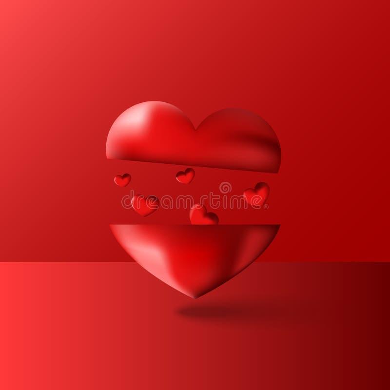 Lycklig bakgrund för valentindagkonstverk med designen för röd romantiker för många hjärtor för svävning den älskvärda för kort f royaltyfri illustrationer