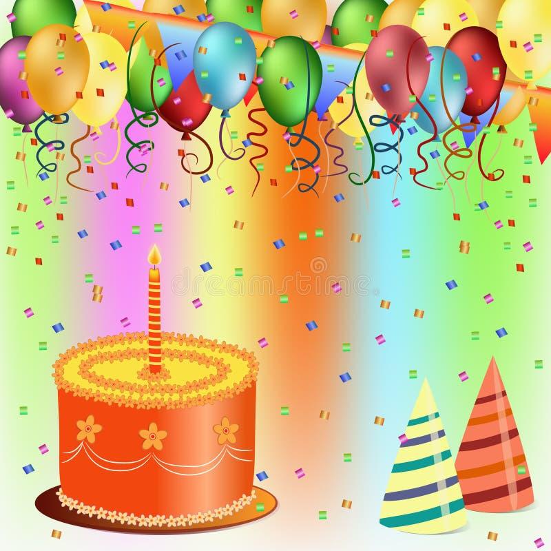 lycklig ballongfödelsedagcake royaltyfri illustrationer