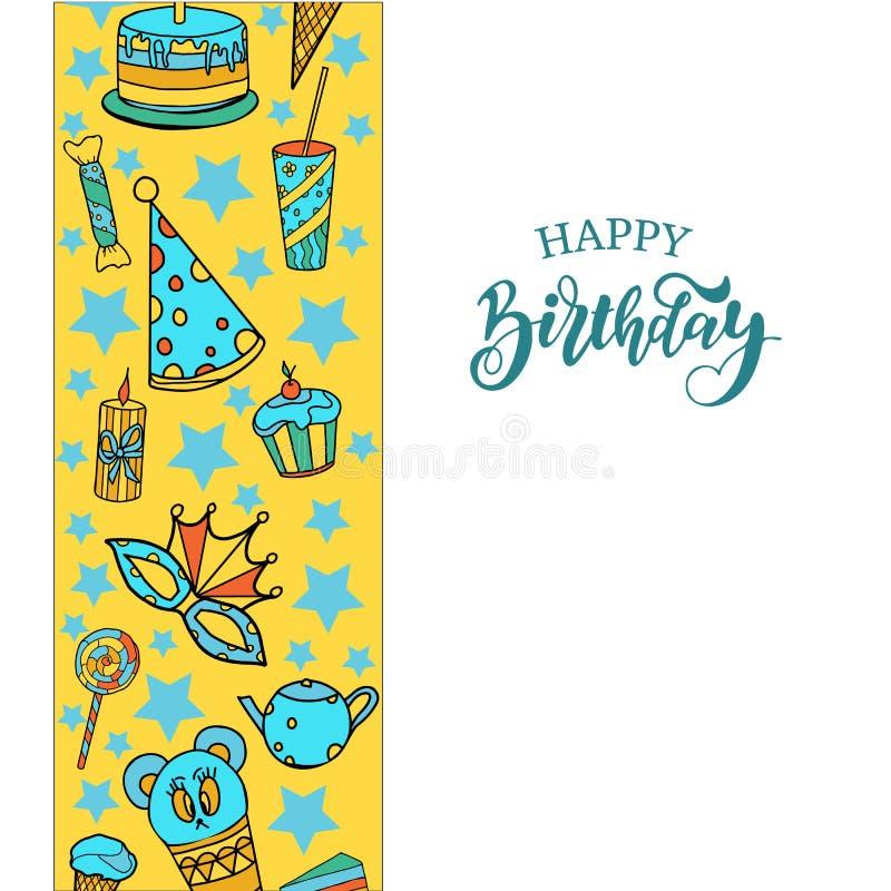 lycklig banerfödelsedag Vektorbakgrund för affischer royaltyfri illustrationer