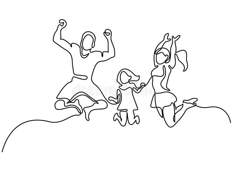 lycklig banhoppning för familj stock illustrationer