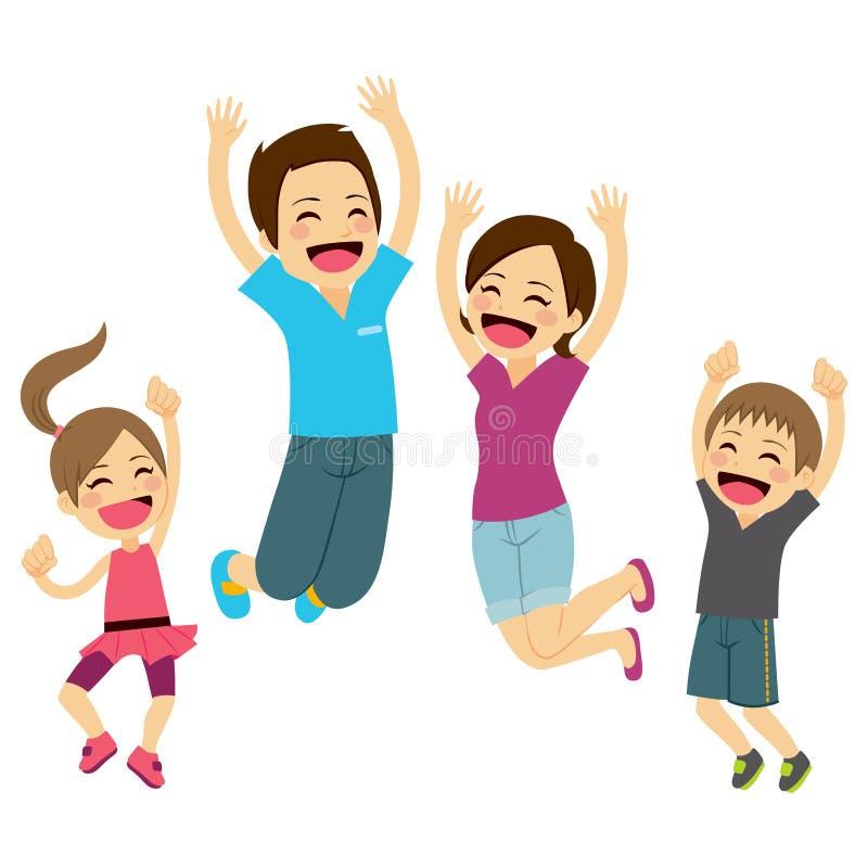 lycklig banhoppning för familj vektor illustrationer