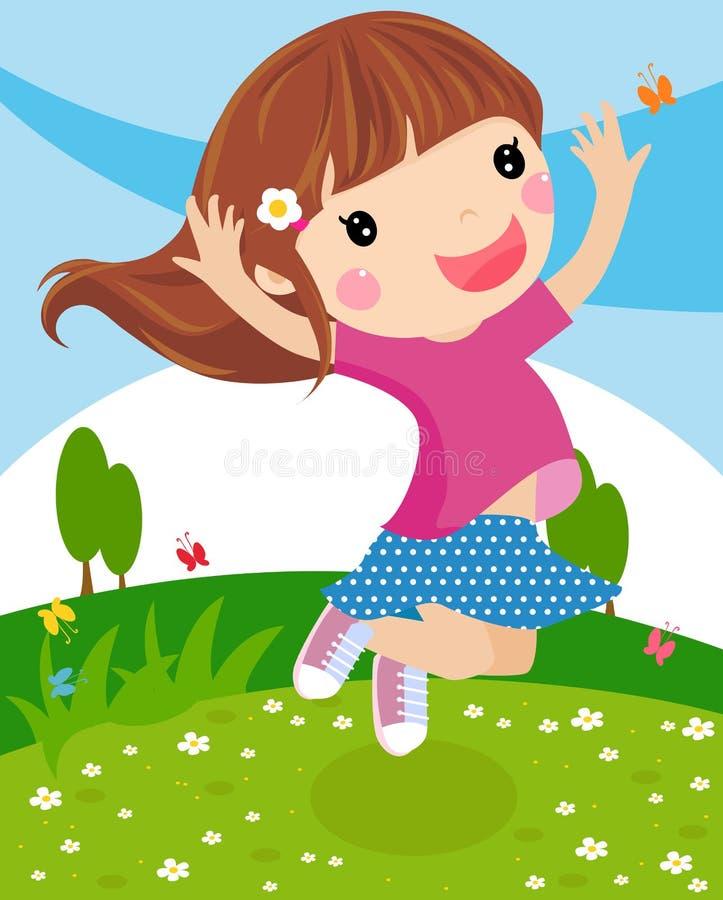 lycklig banhoppning för flicka royaltyfri illustrationer